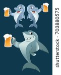 a shark and a pair of dolphins...   Shutterstock .eps vector #703880575