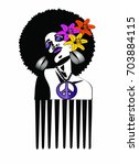 beautiful black woman with... | Shutterstock . vector #703884115