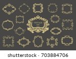 set of gold vintage floral... | Shutterstock .eps vector #703884706