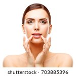 woman lips beauty  face care... | Shutterstock . vector #703885396