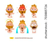 cute baby characters emotions... | Shutterstock .eps vector #703885726