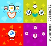 cartoon monster faces  card for ... | Shutterstock .eps vector #703886752