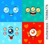 cartoon monster faces  card for ... | Shutterstock .eps vector #703886776