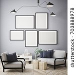 mock up poster frame in hipster ... | Shutterstock . vector #703888978