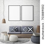 mock up poster frame in hipster ... | Shutterstock . vector #703889002