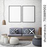 mock up poster frame in hipster ...   Shutterstock . vector #703889002