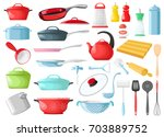 set of cookware isolated on... | Shutterstock .eps vector #703889752