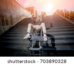 skatboarder practicing and... | Shutterstock . vector #703890328