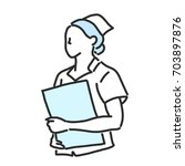 nurse. line drawing and hand...   Shutterstock .eps vector #703897876