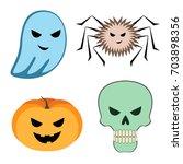 vector set with halloween... | Shutterstock .eps vector #703898356