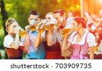 in beer garden in bavaria ... | Shutterstock . vector #703909735
