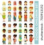 different school children... | Shutterstock .eps vector #703913152