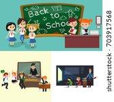 back to school set of... | Shutterstock .eps vector #703917568
