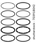 set of oval label borders ... | Shutterstock .eps vector #703918042