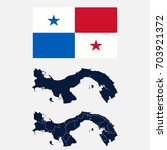 navy blue panama map and flag...