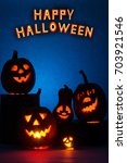 halloween pumpkin with a... | Shutterstock . vector #703921546