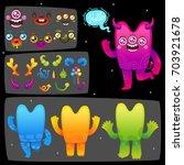 funny cartoon monster... | Shutterstock .eps vector #703921678