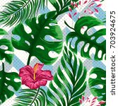 tropical seamless pattern with... | Shutterstock .eps vector #703924675