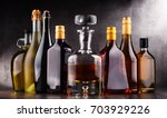 composition with bottles of...   Shutterstock . vector #703929226