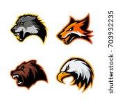 furious wolf  fox  bear and... | Shutterstock .eps vector #703932235