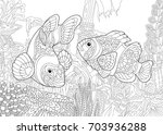 coloring page of underwater... | Shutterstock .eps vector #703936288