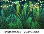 dark tropical background with... | Shutterstock .eps vector #703938055