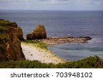 Small photo of Pont Du Hoc, cliff on the coast of Normandy in northern France; during American landing on D-Day 6 June 1944 it was a place of a fierce battle