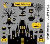 halloween icons or logos in... | Shutterstock .eps vector #703951918