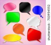 set of speech bubbles in papet... | Shutterstock .eps vector #703954552