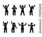stick figure happiness  freedom ... | Shutterstock .eps vector #703956628