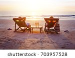 honeymoon travel  silhouettes... | Shutterstock . vector #703957528