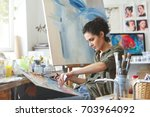 young female student having...   Shutterstock . vector #703964092