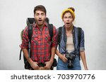 picture of surprised hipsters... | Shutterstock . vector #703970776