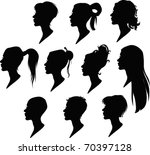 vector pack of woman's hairstyle | Shutterstock .eps vector #70397128