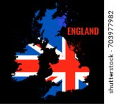 the outline of the england with ... | Shutterstock .eps vector #703977982