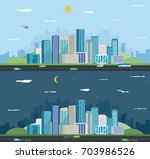 day and night urban landscape.... | Shutterstock .eps vector #703986526