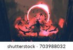 wizard of crows casting a spell ... | Shutterstock . vector #703988032