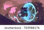 sci fi concept of the gun truck ... | Shutterstock . vector #703988176