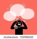 man scratching his head and... | Shutterstock .eps vector #703988185