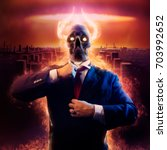 Small photo of War politician. Politician man with fire horned skull head in black suit straightens a red tie on nuclear blast city background.