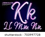 neon glowing 3d typeset. font... | Shutterstock .eps vector #703997728