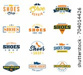 shoes shop badges set. colorful ... | Shutterstock .eps vector #704014426