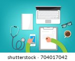 doctor at the table search... | Shutterstock .eps vector #704017042