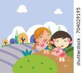 walking in the park kid... | Shutterstock .eps vector #704029195
