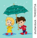 girl walk and talk with a boy... | Shutterstock .eps vector #704033716
