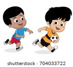 boy playing football with... | Shutterstock .eps vector #704033722