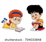 kids reading a book.vector and... | Shutterstock .eps vector #704033848