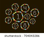 isolated mosaic numbers in... | Shutterstock .eps vector #704043286