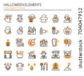 halloween elements   thin line...