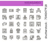 museum elements   thin line and ... | Shutterstock .eps vector #704047918